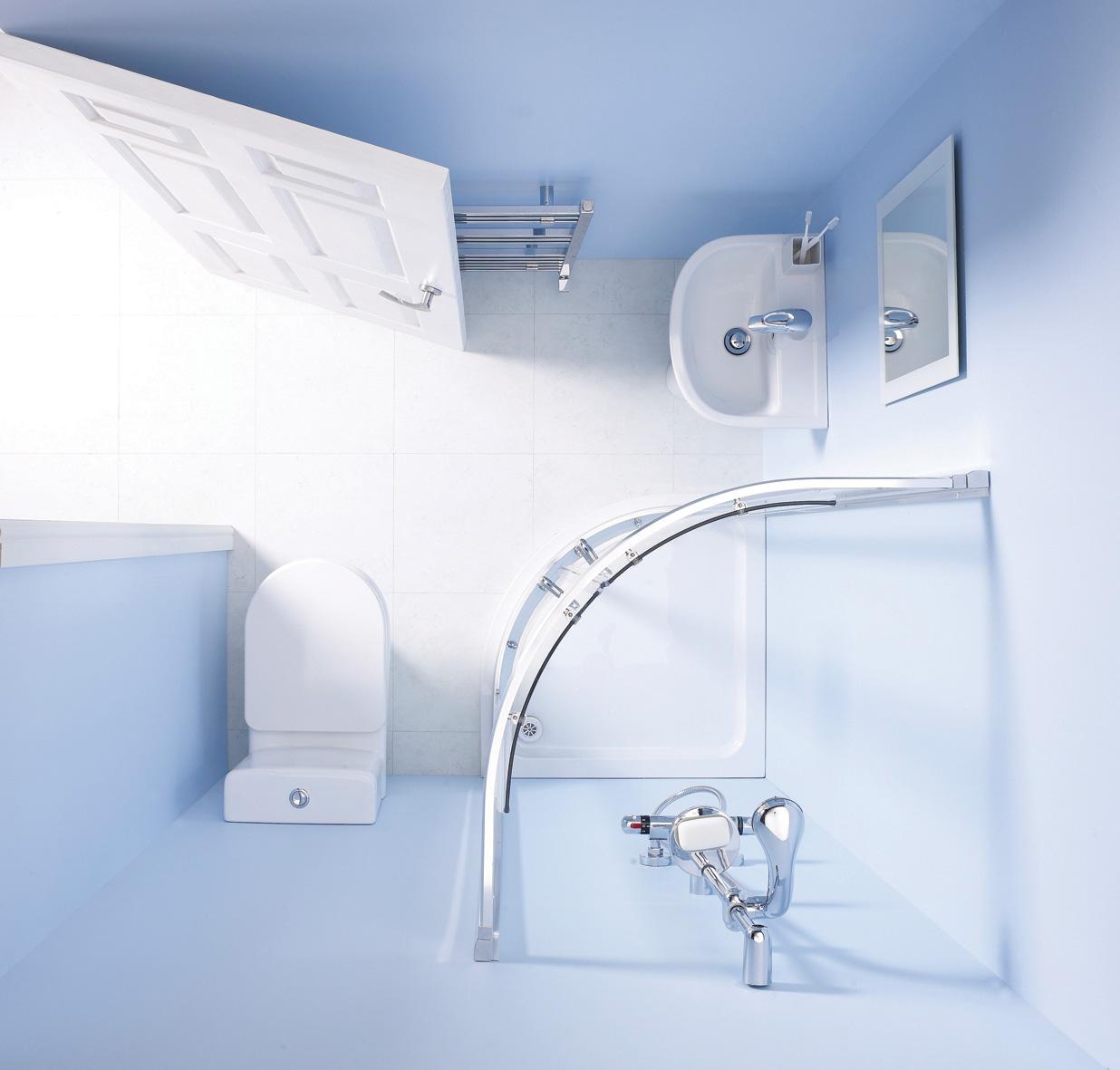 Baño Bajo Una Escalera:Un cuarto de baño completo en 3m2