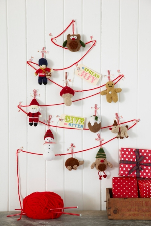 Decoracion Rustica Navide?a ~ Sabor de hogar ?rbol de Navidad sencillo con lana y agujas de punto