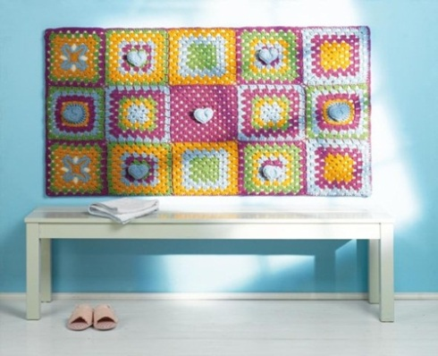 Colorido tapiz de chochet para decorar